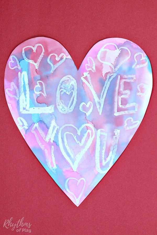love you heart painting idea with watercolors and resist medium