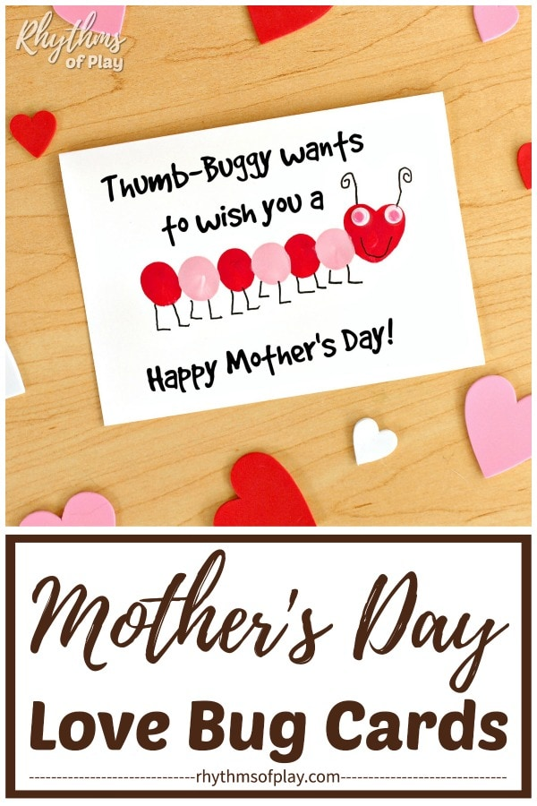 "Fingerprint love bug card for Mother's Day ""Thumb-buggy wants to wish you a happy Mother's Day!"