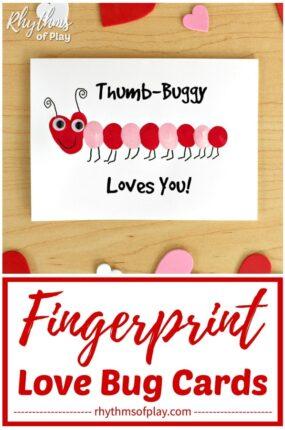 Fingerprint love bug card idea