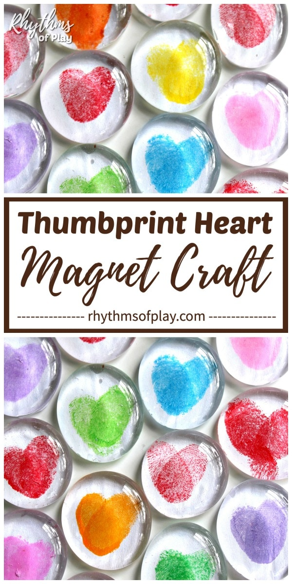 multi-colored thumbprint heart magnet crafts homemade gift idea kids can make for parents and grandparents