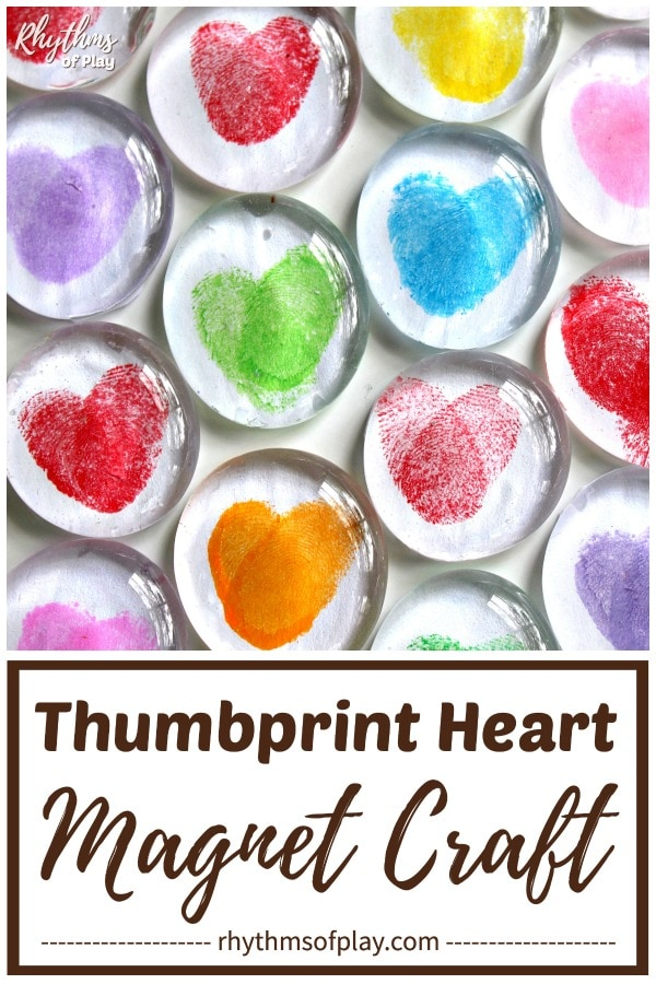 Thumbprint Heart magnets craft kids and adults can make