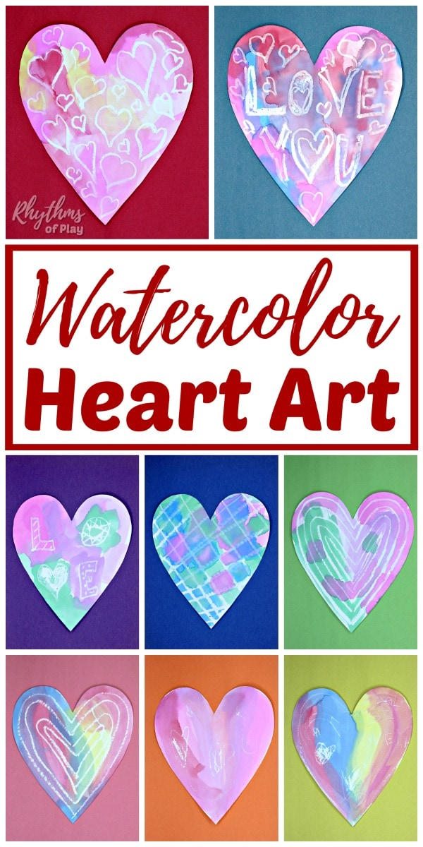 heart shaped heart painting ideas with watercolors