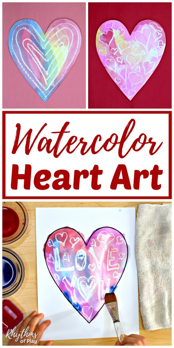 heart watercolor panting ideas for kids