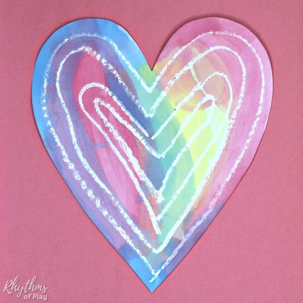 heart watercolor painting idea with white pastel resist
