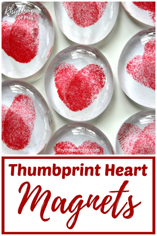 red thumbprint heart magnets craft and homemade gift idea kids can make