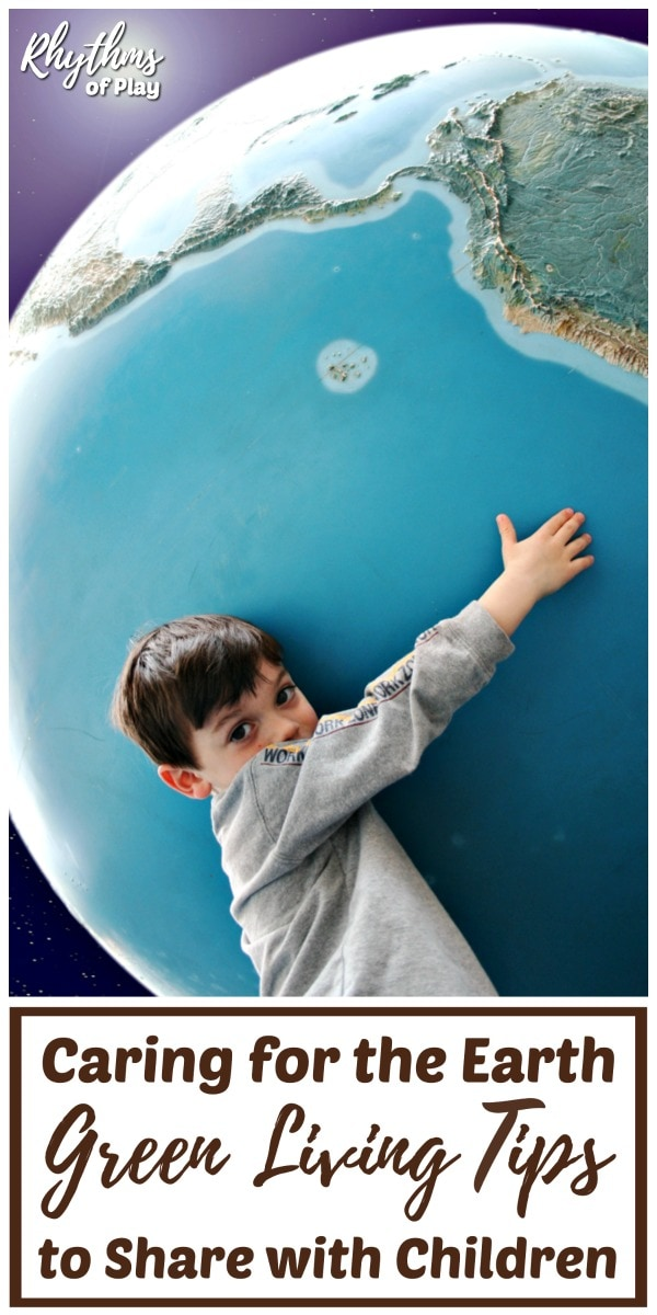 Green living ideas to teach children with boy hugging large globe.