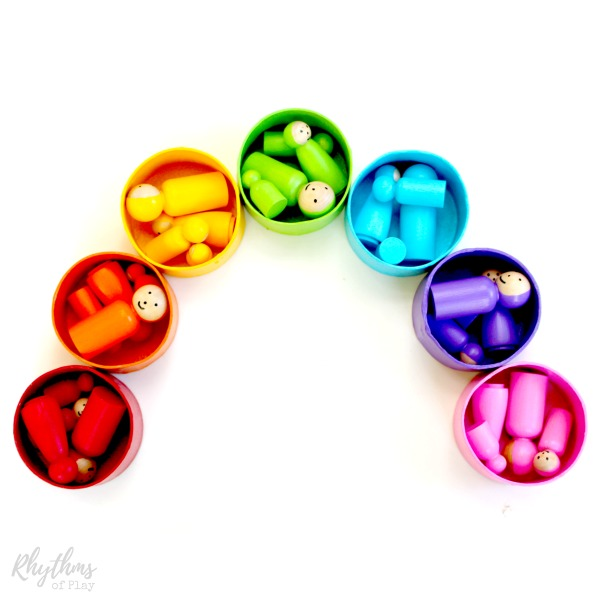 Rainbow peg dolls diy toy for kids