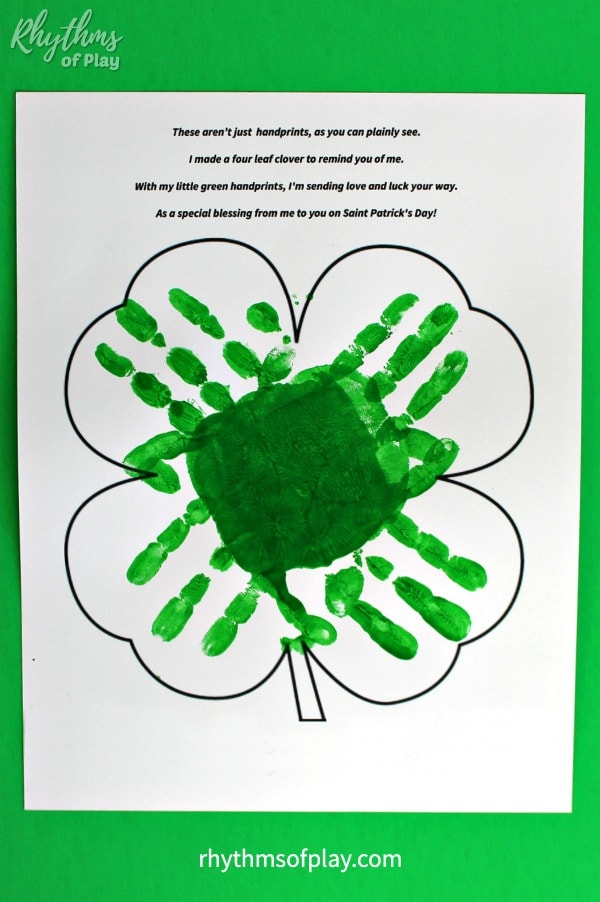 handprint clover craft art template with poem
