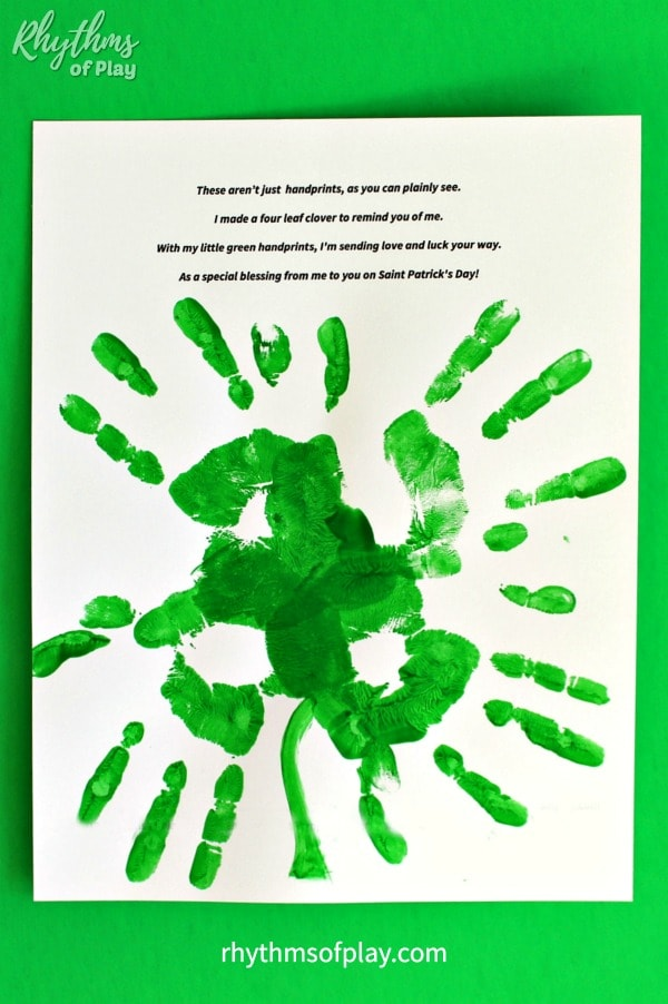 four leaf clover handprint poem printable art template
