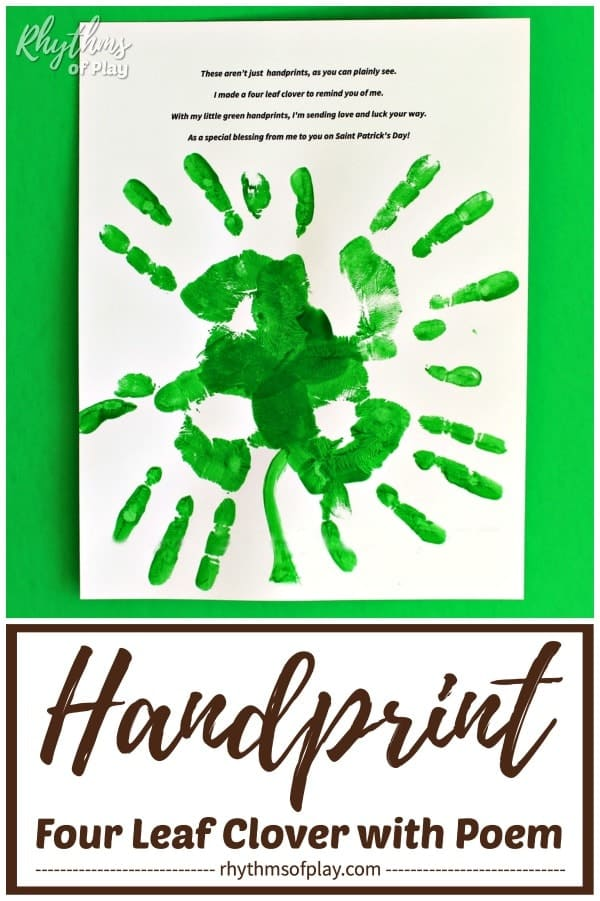 graphic relating to Handprint Poem Printable called 4-Leaf Clover Handprint Craft with Poem Rhythms of Participate in