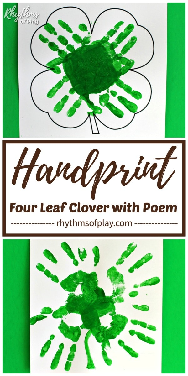 four leaf clover handprint art for kids