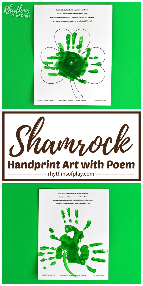 handprint shamrock art template with poem printable