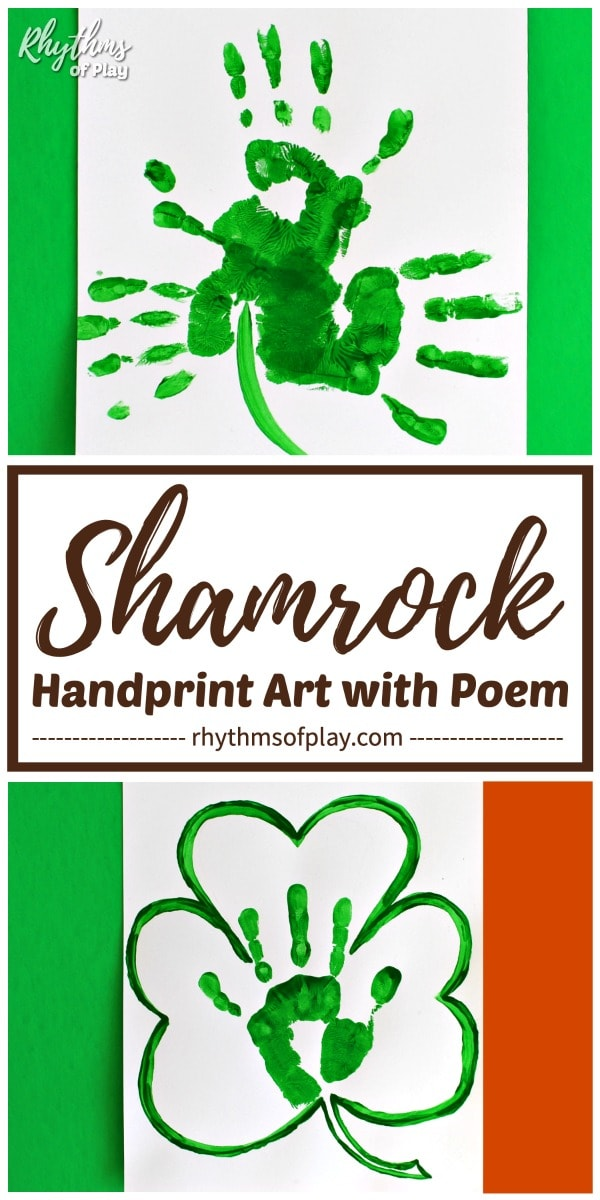 handprint shamrock craft for Saint Patrick's day