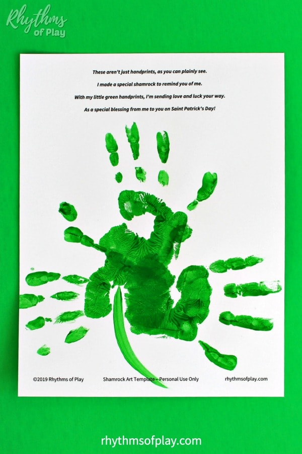 Shamrock handprint art poem printable template for Saint Patrick's day