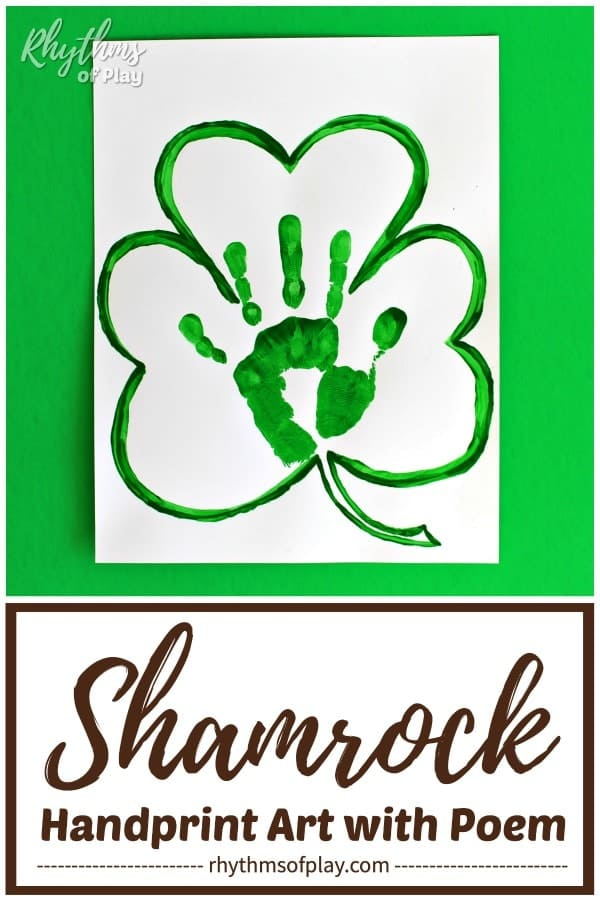 Shamrock Handprint Art with Poem for Saint Patrick's Day