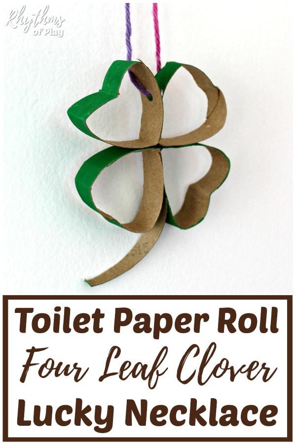 Lucky four leaf clover Saint Patricks day necklace