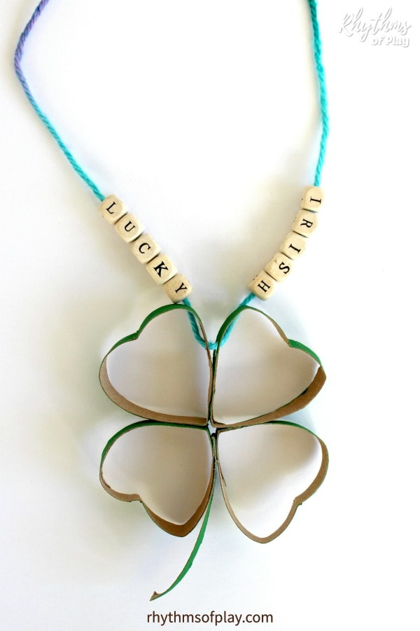 upcycled four leaf clover craft using recycled cardboard tubes