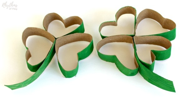 Lucky four leaf clover and shamrock made using a recycled cardboard tube