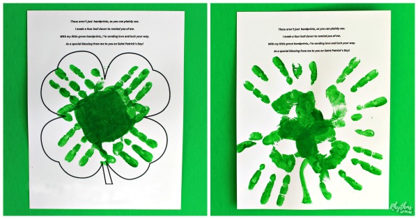handprint clover craft for Saint Patrick's Day.