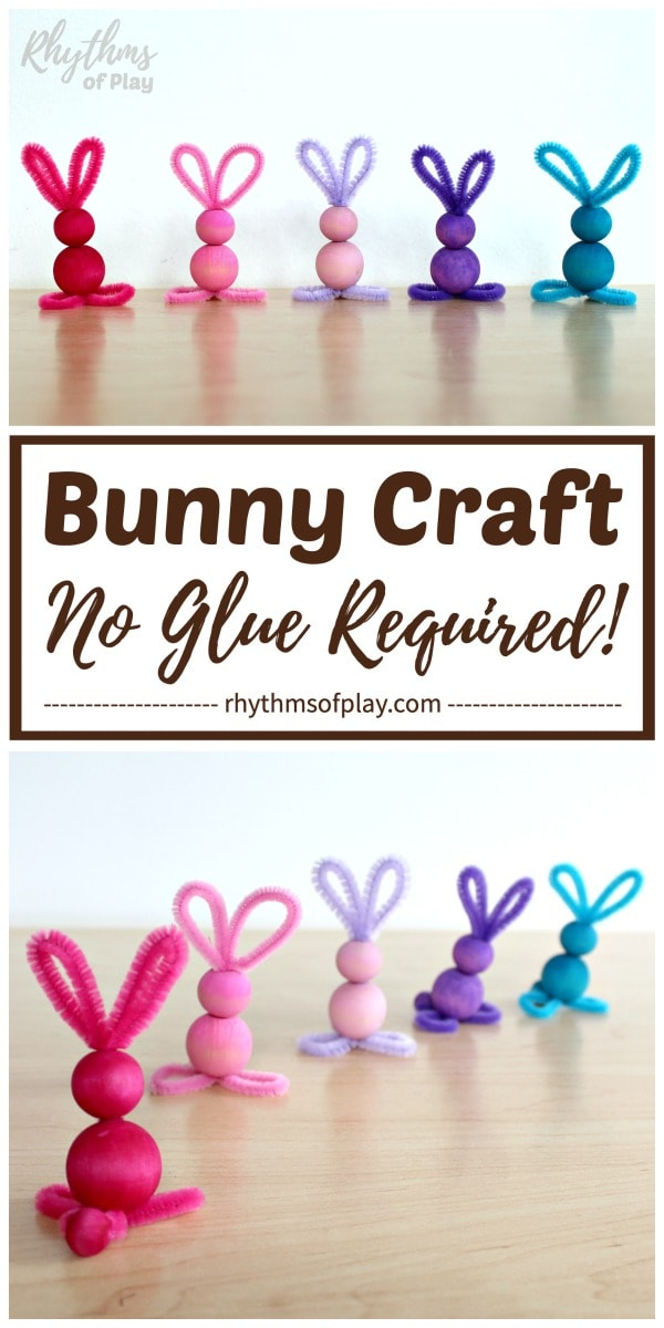 bunny craft made with pipe cleaners and beads