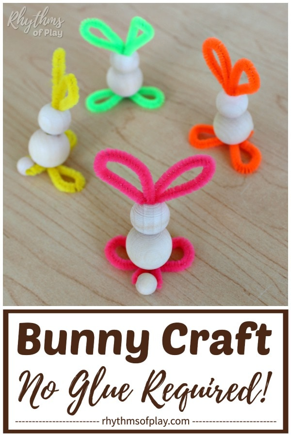 pipe cleaner bunny craft made with unfinished wooden beads