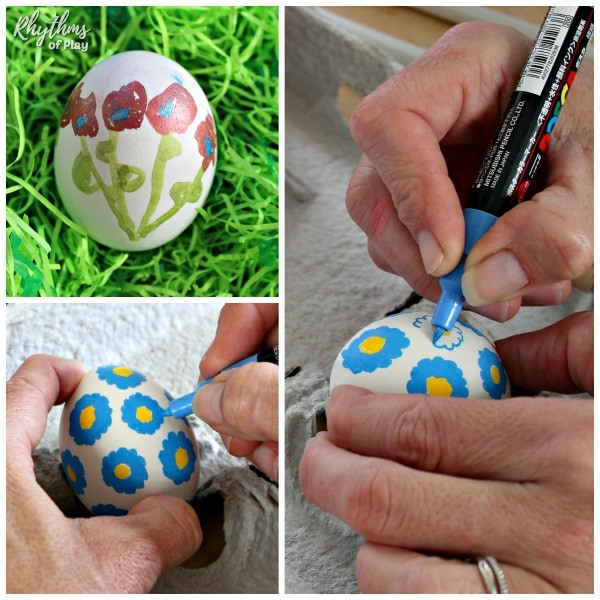 How to use paint pens to draw flowers on Easter eggs.