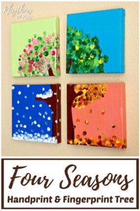four seasons handprint tree art - four seasons fingerprint tree art