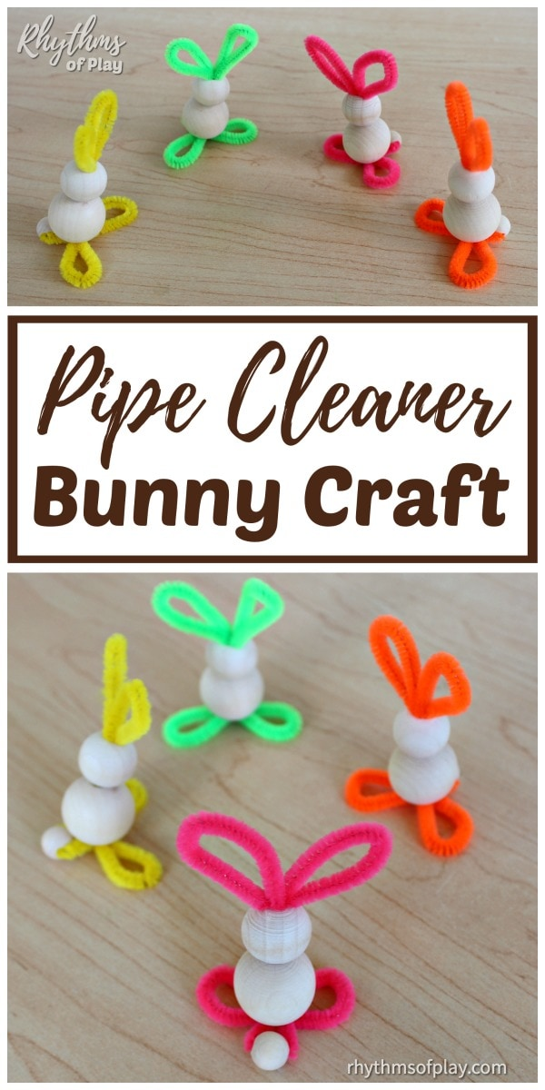 pipe cleaner bunny crafts for preschoolers and kids of all ages