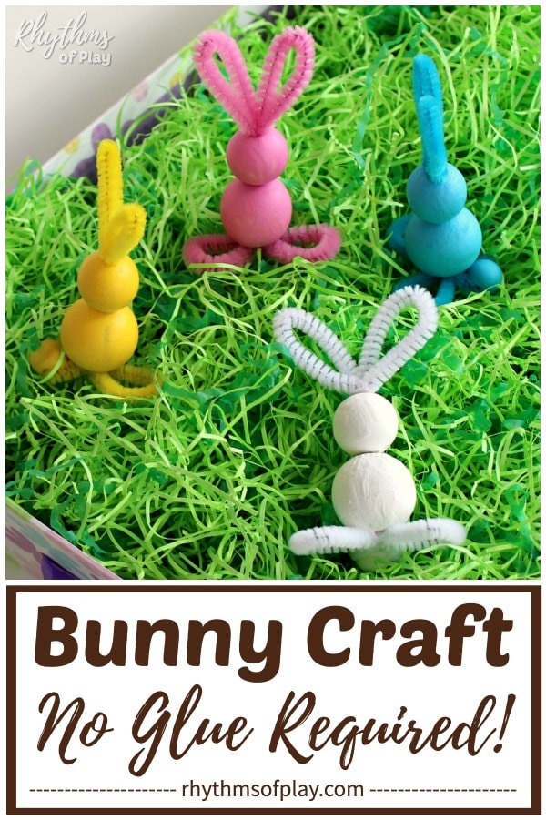 pipe cleaner bunny crafts for Easter - pipe cleaner and wooden bead bunnies in an Easter Basket