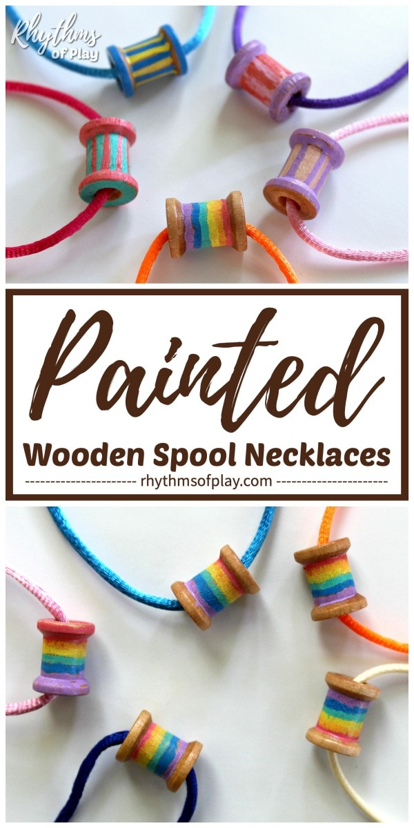 wooden spool necklaces with extra fine point paint pens