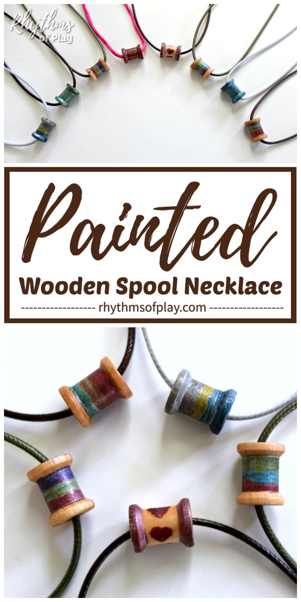wooden spool necklaces with metallic brush pen painted wooden spools
