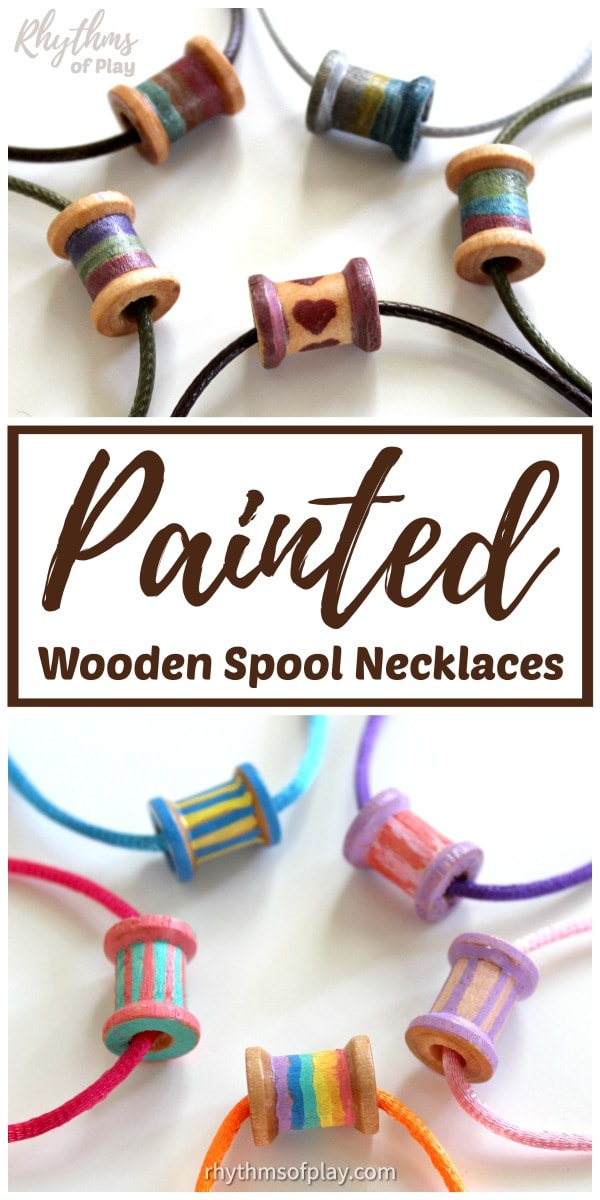 painted wooden spools - how to make wooden spool necklace or bracelet