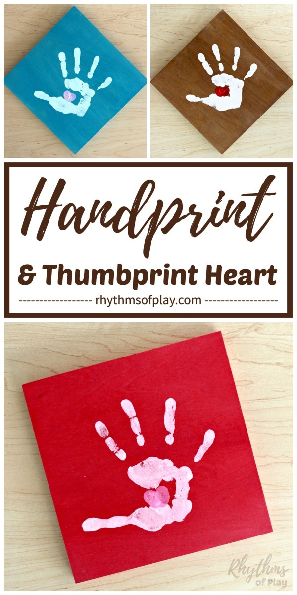handprint craft with thumbprint heart in palm of handprint art