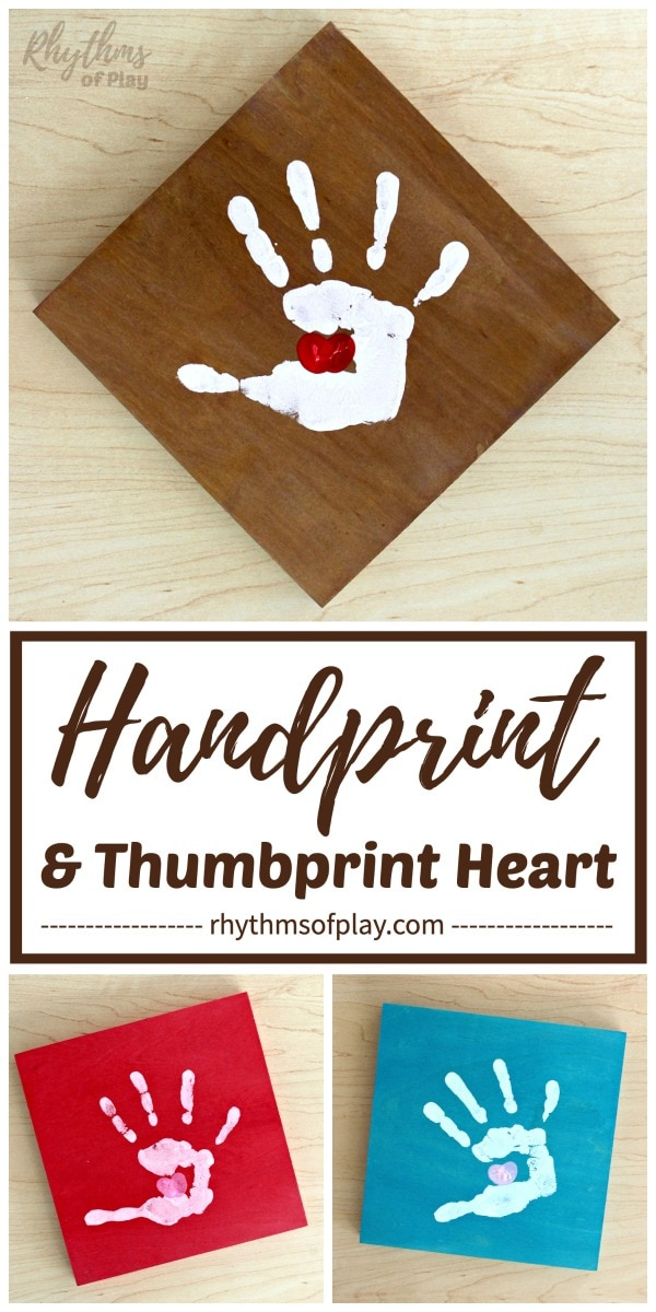 handprint craft with thumbprint heart art