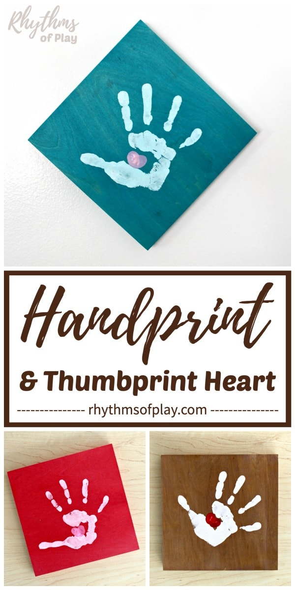 handprint art craft on wood canvas keepsake gift ideas