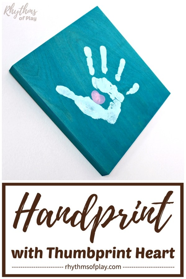 handprint art gift idea on wood canvas