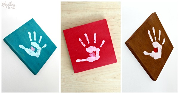 handprint art craft and gift idea with thumbprint heart