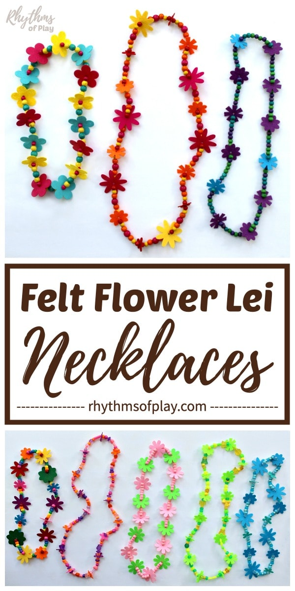 flower lei necklaces made with felt flowers and pony beads or wooden beads