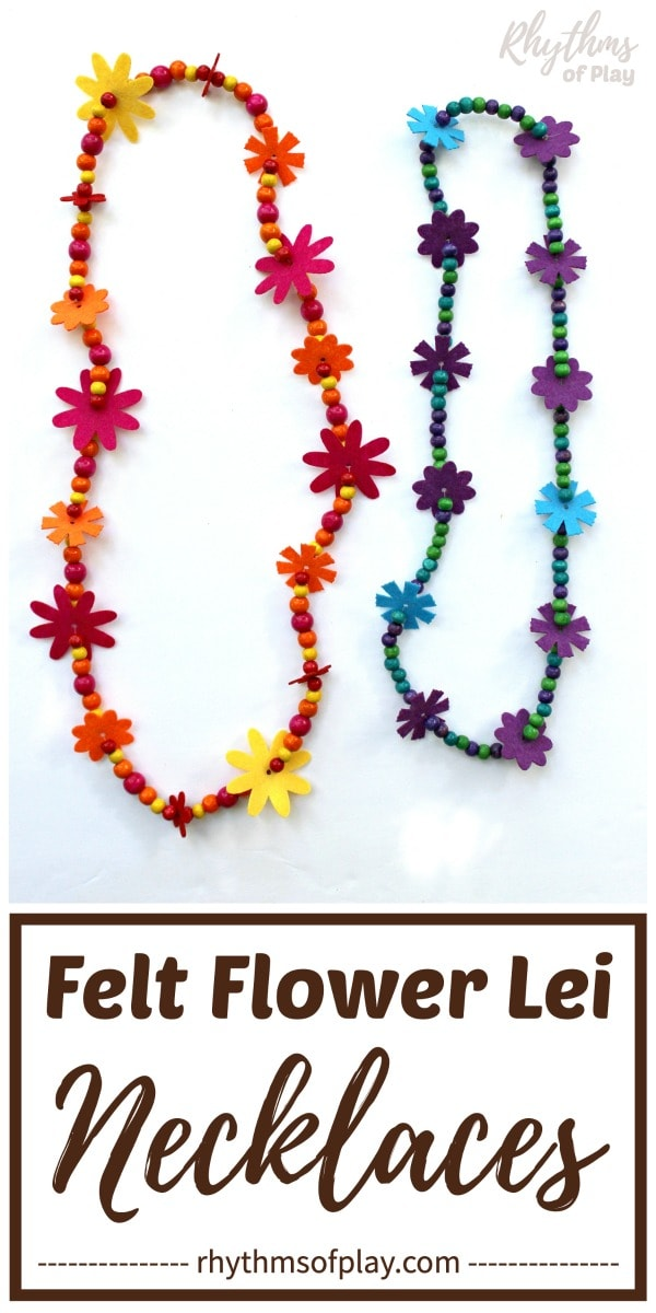 flower lei necklaces made with felt flowers and wooden beads