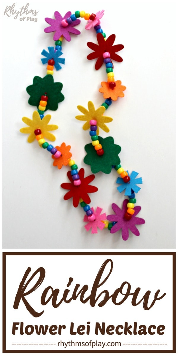 flower lei made with felt flowers and pony beads in a rainbow of colors
