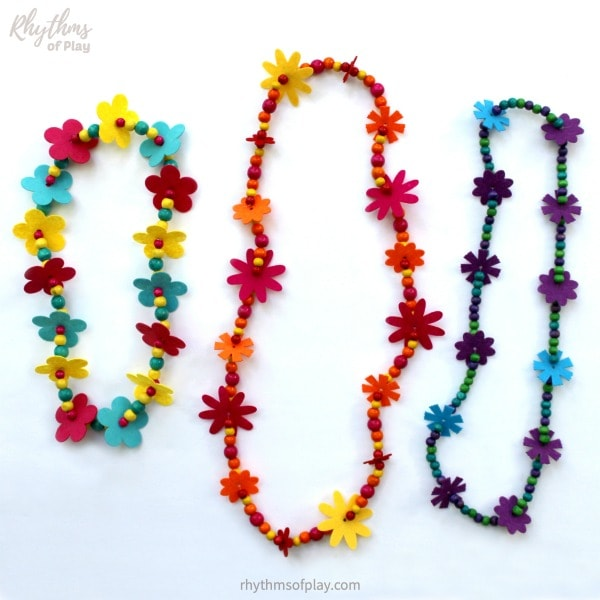 flower lei necklace - beaded necklaces made with felt flowers and colored wooden beads