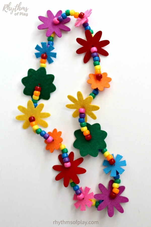 rainbow lei flower necklace made with felt flowers and pony beads