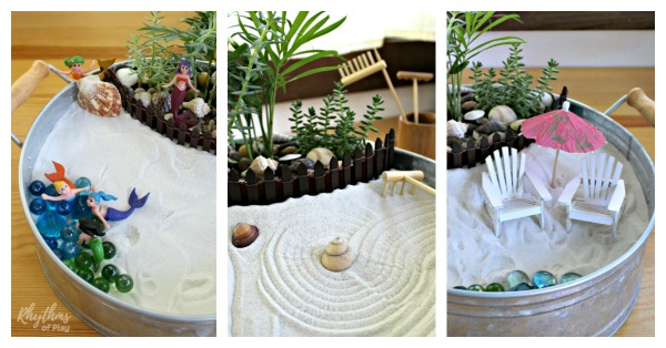 beach fairy garden ideas - mermaid fairy garden, zen garden, and other beach themed fairy garden DIY