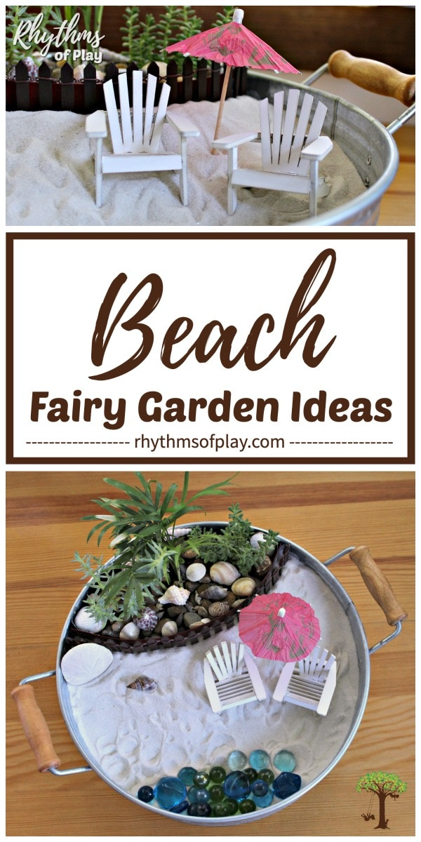 Beach fairy garden ideas - make your own mini tabletop beach themed fairy garden!