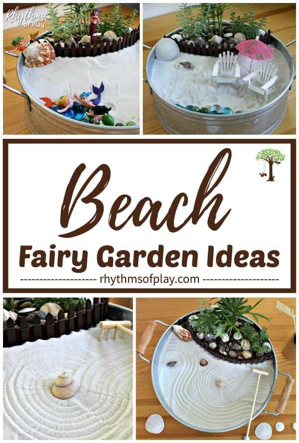 beach fairy garden ideas - learn how to make fairy garden with a beach theme; mermaid fairy garden, zen garden and more!