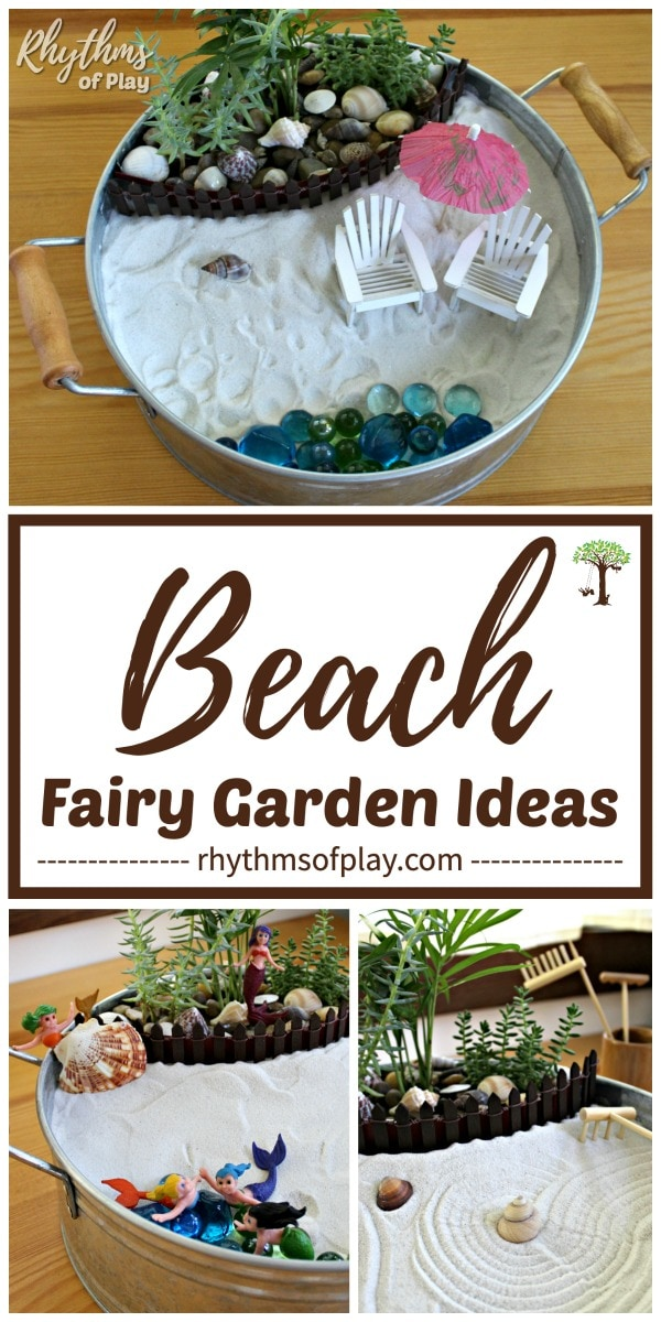 beach fairy garden ideas - A day at the beach, mermaid, and zen beach themed tabletop mini fairy garden ideas