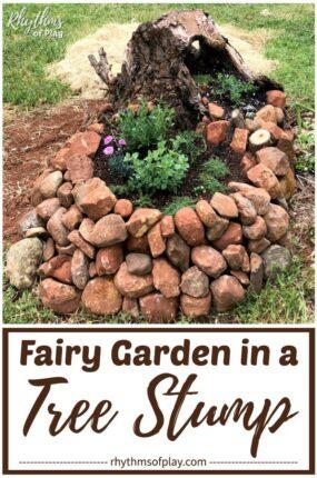 fairy garden tree stump diy backyard project