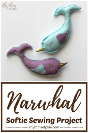 narwhal plush toy beginning sewing project