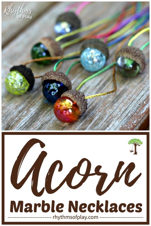 DIY acorn jewelry; marble jewelry DIY