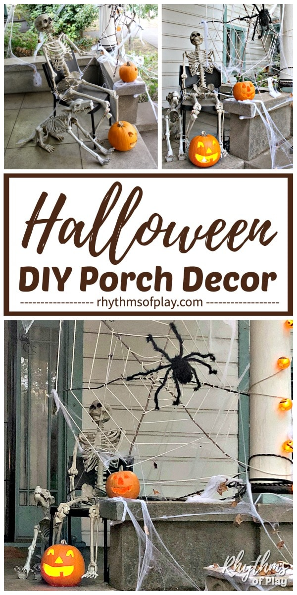 Halloween decoration outdoor giant spiderweb and skeleton porch decor